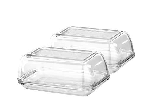 2 Stück Luminarc Butterdosen aus Glas - Fassungsvermögen 250 g - Für Standard-Butter-Größen - Hochwertiges und Starkes Glas