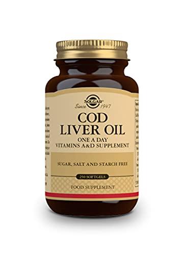 Solgar norsk kölolja softgel (Vitamin A & D komplettering) – genomskinlig, 250 softgel kapslar