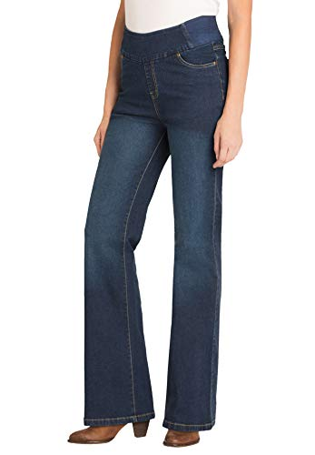 Woman Within Women's Plus Size Petite Bootcut Smooth Waist Jean - 12 WP, Indigo Sanded Blue
