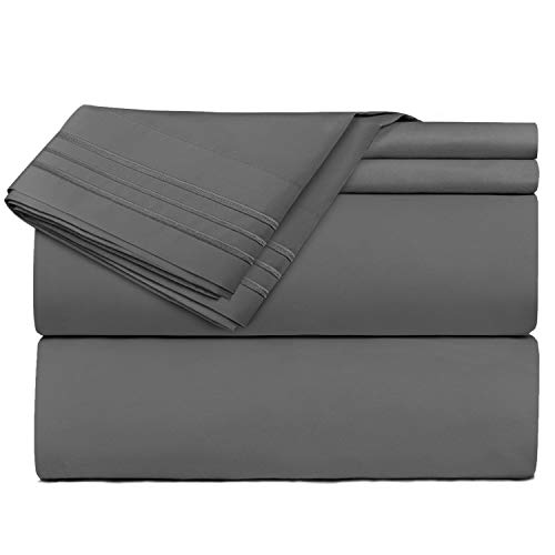 Clara Clark Premier 1800 Collection Hoja de Cama Set, Juego de 3 sábanas de Cama, Gris Carbón, Twin (Single) Size
