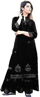 Gulabi Ambar Women's Black Straight Kurti with Sharara Gota Pati Work Readymade Salwar Suit for Girls Black