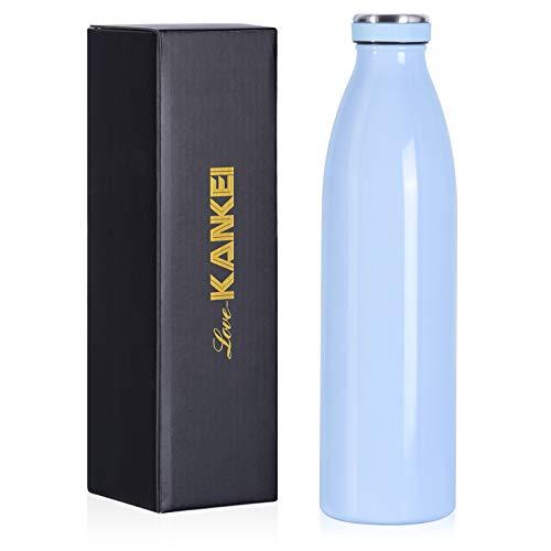 Love-KANKEI 水筒 マグボトル ステンレスボトル 真空断熱 保熱保冷 牛乳瓶 直飲み 500ML ブルー
