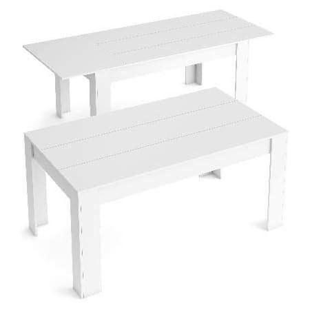Skraut Home - Table de Salle à Manger de 140cm Extensible 200cm, Couleur Blanc Mat, Mesures: 90.4 Largeur x 140.4/200.4 Longueur 76.1 Hauteur