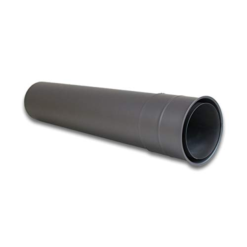 LANZZAS Ofenrohr Wandfutter/Mauermuffe mit 500 mm Rohrverlängerung - für den Durchmesser Ø 120 mm - Farbe: gussgrau - Rauchrohr Wandmuffe