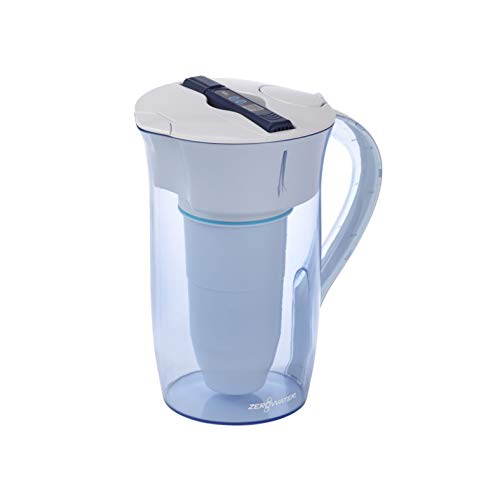 ZeroWater ZR-0810-4, 10 Cup Round Water Filter Pitcher with Water Quality Meter, White