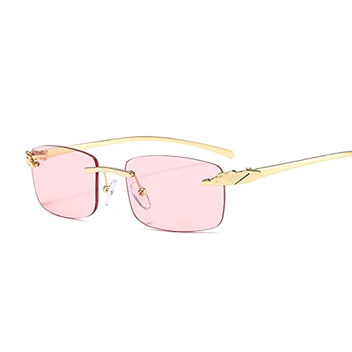 FDNFG Gafas de Sol Vintage Metal Guepardo Gafas de Sol Mujeres Luxury Rimless Sun Glasses Shades Mascule Moda Designer Gradient Gafas de Sol (Lenses Color : Pink)