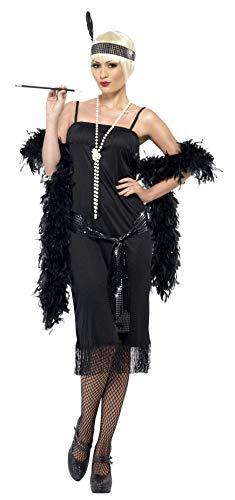 Smiffys-28605X1 Disfraz de Joven a la Moda de los años 20, con Vestido, cinturón fajín y Banda para el Pelo, Color Negro, XL-EU Tamaño 48-50 (Smiffy'S 28605X1)