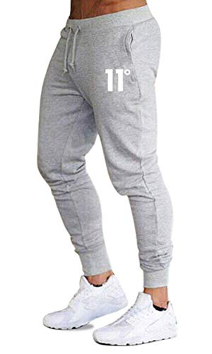 Frecoccialo Pantalones de Deporte para Hombre Chándal Ajustados Multicolores Cintura Elástica Ajustable Pantalon de Hombre Pitillo Deportivo con Bolsillos (Gris, XL)