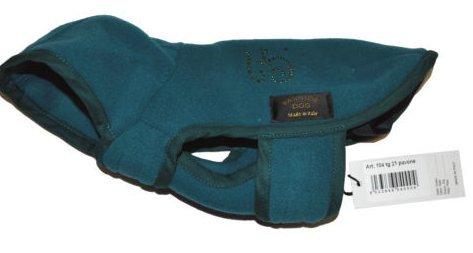 Badjas van fleece, voor hond, kleur: blauw, groen, zilver, 21 cm