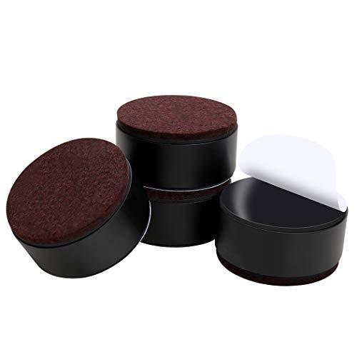 Ezprotekt Betterhöhung (3,8 cm) – massiver Stahl selbstklebend Möbelerhöhung oder Bettlift rund, schwarz