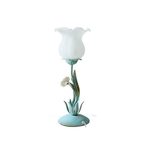 ZLMAY Pantalla de lámpara de Mesa Rosados de Cristal Flor luz de la Noche for Aplicar a la cabecera de la Sala, Azul