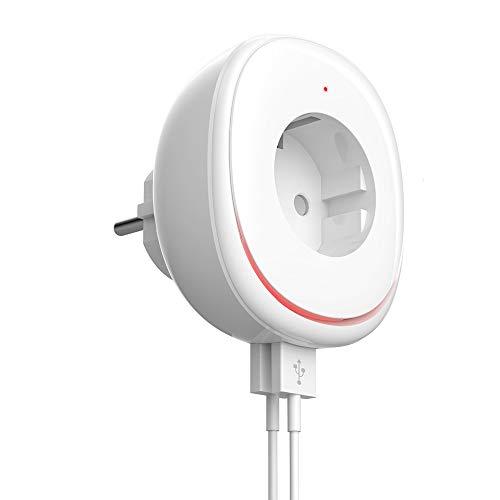 WLAN Steckdose mit RGB Nachtlicht - Smart WiFi Steckdose Alexa Kompatibel mit USB Port und Dimmbarer Nachtlicht, Intelligente Steckdose Fernbedienung mit Alexa, Google Home und IFTTT, IOS und Android