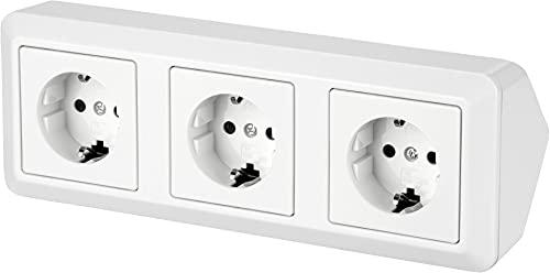 Regleta de 3 enchufes para esquina, 230 V, 16 A, 3600 W, T1, color blanco