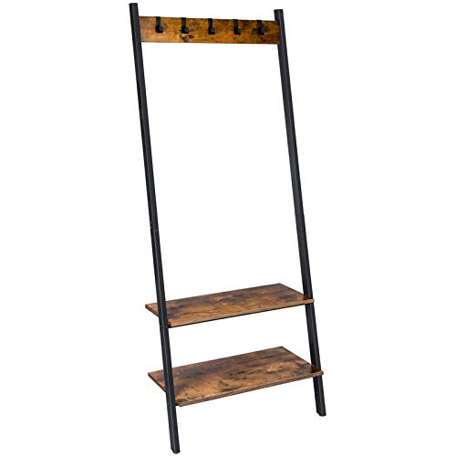 BEEWOOT Ledder Shelf, Hall trees, Coat Rack,Hall Tree Entryway Shelf,Shoe Rack, Industrial Style,Leaning Against The Wall, Rustic Brown CR02BB006