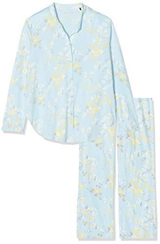 Schiesser Damen Pyjama Lang Zweiteiliger Schlafanzug, Blau (Aqua 833), 42 (Herstellergröße:042)