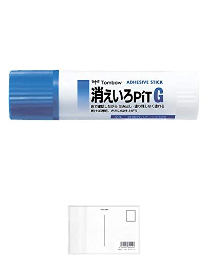 トンボ鉛筆 スティックのり 消えいろピット G PT-GC 【× 4 個 】 + 画材屋ドットコム ポストカードA