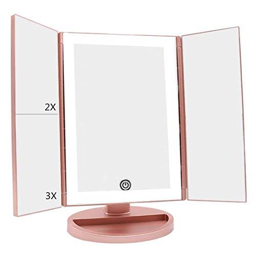 deweisn Specchio Ingranditore da Trucco con 36 LEDs, Naturali LuzTouchscreen Trifold Specchio Cosmetico Ruota di 180°Ingrandire 3x/2x/1x Portatile Pieghevole Specchio Tavolo con Base(Oro rosa-01)