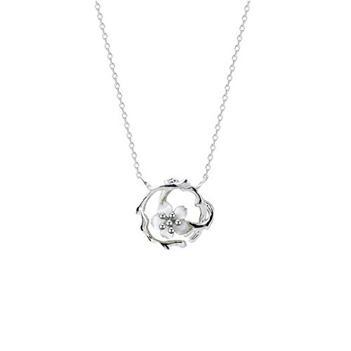 KGDC Necklaces for Women Girls Cherry Blossom Necklace Women's Sterling Silver Pendant Chinese Style Elegant Plant Flower Jewelry Gift for Girlfriend (Silver) Choker Necklaces (Color : A)