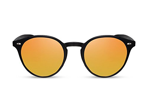 Cheapass Gafas de Sol Redondos Negro Oro Rojo Espejados Retro Lentes UV-400 Mujer Hombre