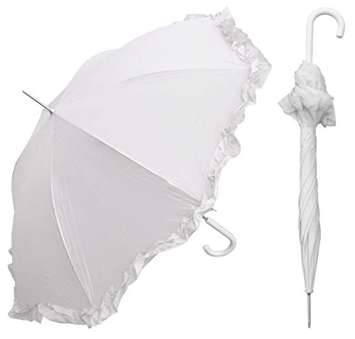 "RainStoppers 48"" Auto Open White Parasol Umbrella with Ruffle"