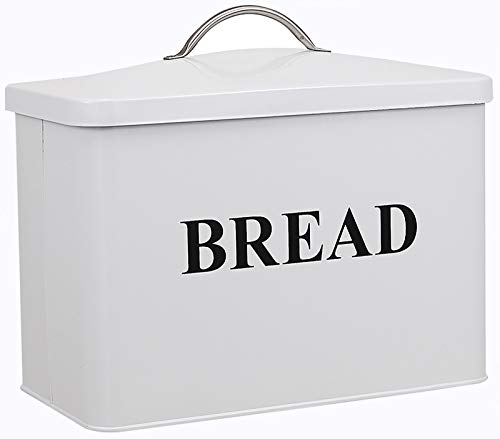 Extra Large Space Saving Vertical Bread Box - Holds 2 Loaves - Cream Extra Large Breadbox Bread Holder - 13'(L) x 7'(W) x 9' (H) - White with BREAD Lettering