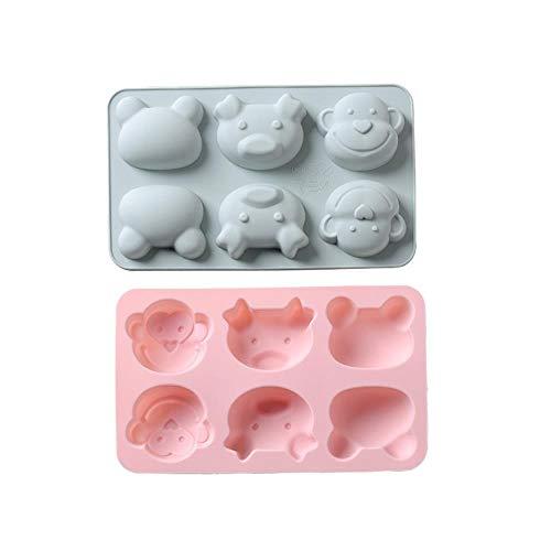 6 auto-singe grenouille silicone bakeware Savon Moule à Chocolat,rose