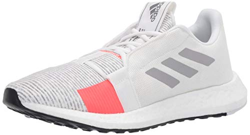 adidas Men's SenseBOOST GO m Running Shoe, core White/Grey Two/Solar Red, 9 Standard US Width US