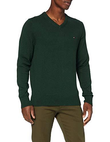 Tommy Hilfiger Herren Pima Cotton Cashmere V Neck Pullover, Hunter Heather, XL
