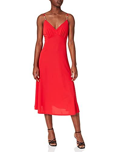 Morgan Robe Midi A Bretelles 211-REGAL Vestido, Rojo, 40 para Mujer