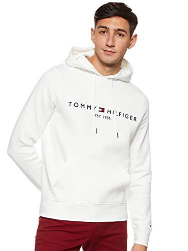 Tommy Hilfiger Herren Tommy Logo Hoody Sweatshirt, Weiß (Snow White 118), X-Large (Herstellergröße:XL)