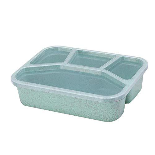 Fiambrera reutilizable portátil Cajas de contenedores divididos que se aplican a la vajilla de almacenamiento de alimentos para niños y estudiantes (4 compartimentos)