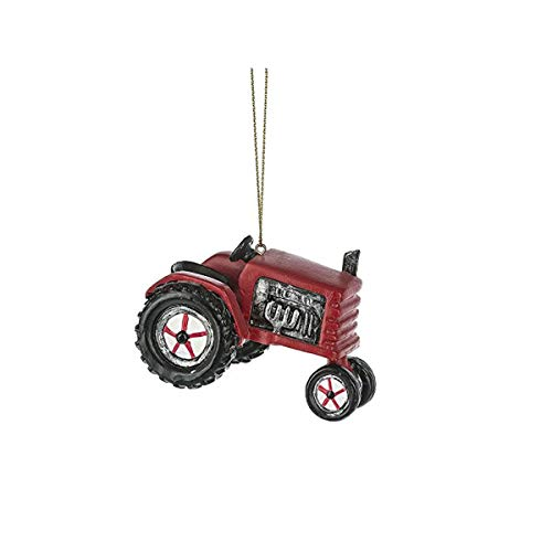 Midwest-CBK Red Farm Tractor 3 x 2.5 Inch Resin Hanging Christmas Ornament Figurine