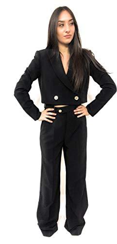 VERSACE JEANS CUTURE Corta jas kleur zwart met sluiting vooraan met twee maxi-knoppen in goud
