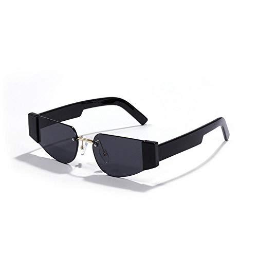 Gafas De Sol De Mujer Sin Marco Gafas De Sol Retro Anti-UV Uv400 Gafas De Espejo Marrón Negro Rosa Adecuadas para Compras De Viajes Al Aire Libre Y Tomar El Sol, Etc.- Negro