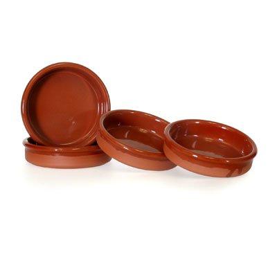 Set of 4 Rustic Cazuela Clay Pans - 4 inch/ 10 cm