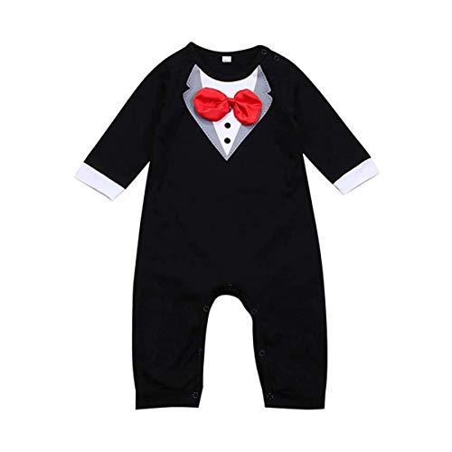 Loalirando Pijama de bebé de algodón Jumpsuit con camisa de gentiluomo para niños Negro 6-12 Meses