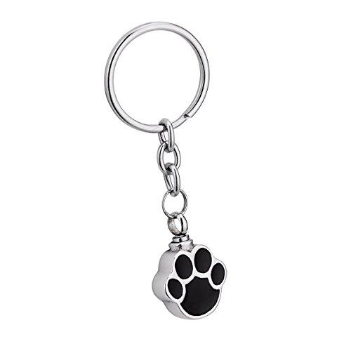 Dog Palm Cremation Urn Keychain Stainless Steel Detachable Memorial Ash Keepsake Cremation Jewelry