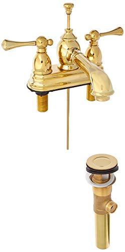Kingston Brass KS7002BL Llave de baño Central de 4 Pulgadas con desplegable, latón pulido, 4-1/2 inch in Spout Reach