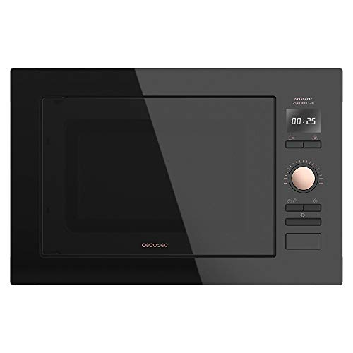 Cecotec Microondas Encastrable Digital GrandHeat 2590 Built-in BlackRose. 900 W, Integrable, 25 Litros, 8 Funciones Preconfiguradas, Quick Start, Temporizador