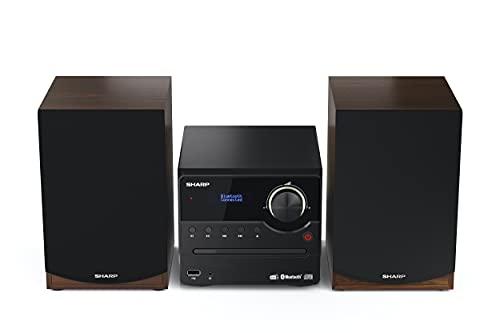 SHARP XL-B517D (BR) Stereo-Soundsystem (45 Watt, digitales Radio mit DAB+ und FM-Tuner, Bluetooth), braun