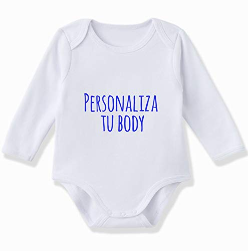 Body bebé personalizado manga larga 100% algodón de color Blanco (3-6 meses)