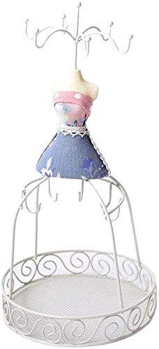 JinSui Maniqui Regulable Costura Maniqui Exhibición de joyería Profesional Soporte de maniquí Vintage para Pulseras Collares Pendientes Marco de Alambre de Metal Blanco de Moda