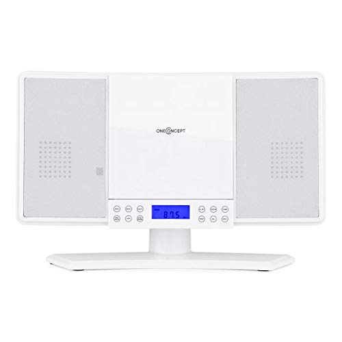 oneConcept V-14 White Edition - Minicadena, Altavoz estéreo, Reproductor de CD, MP3, Sintonizador FM, Memoria 20 emisoras, Display LCD, Alarma despertador, Control remoto, Instalación en pared, Blanco