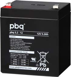 Batería para SAI, Juguetes o alarmas pbq 5.2-12 // 12V 5.2Ah