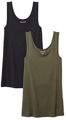 Amazon Essentials Women's 2-Pack Slim-Fit Tank, Olive/Black, Medium
