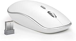 ماوس لاسلكي للكمبيوتر المحمول، ماوس لاسلكي بصري نوع سيمت ستريم لاين مع جهاز استقبال نانو USB عالي الدقة 2400 DPI-فضي + أبيض