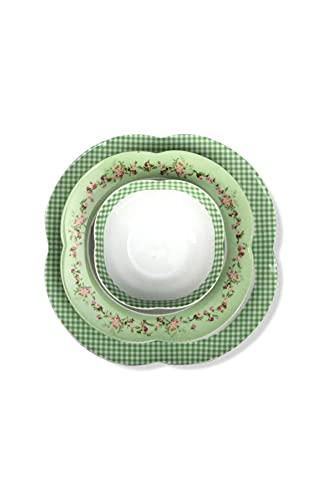 ARYILDIZ Orient Flower Green - Juego de vajilla (24 piezas), color verde