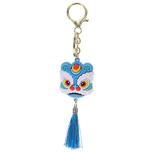 FAVOMOTO Lion Key Chain Dance Lion Key Ring Chinese Style Keychain Dance Lion Pendant Cartoon Silicon Key Holder Blue for Party Favors School Carnival Reward Party Bag Fillers