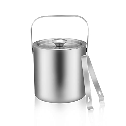 LUCKYGOOBO Mini Stainless Steel Ice Bucket Portable Double Wall Ice Bucket with Tong, Hotel Bucket/Champagne Bucket/Beverage Bucket,Size 1.3 Liters 5.5 x 5.5 in,Serveware for Party,Event,and Camping.