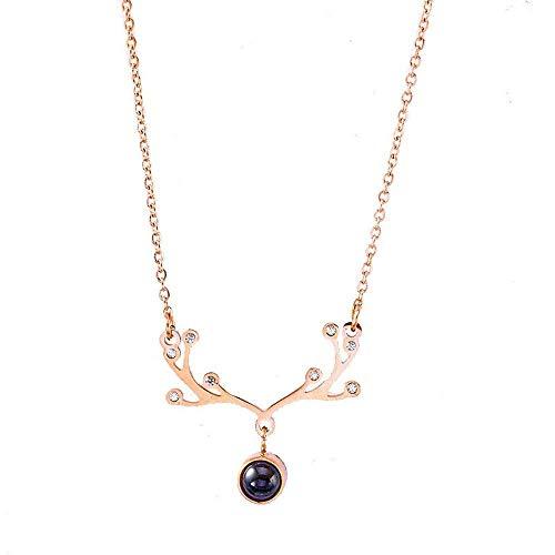 AAA Collar, cadena de acero titanio clavícula, 100 idiomas, I Love You, chapado en oro rosa de 18 quilates